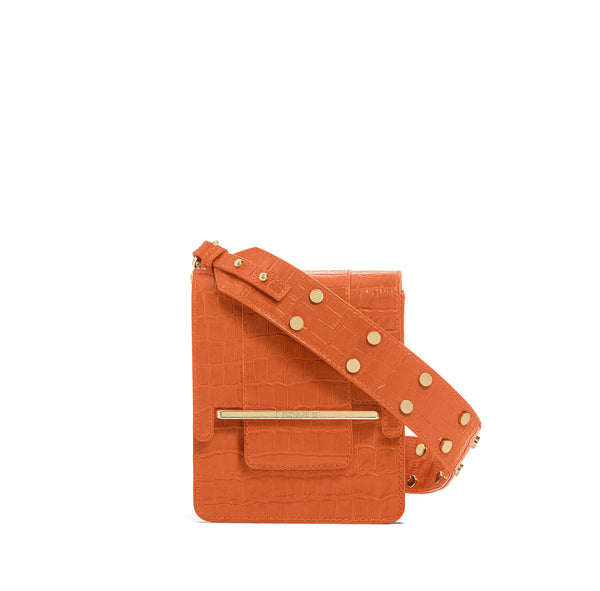 Box bag in orange croc embossed leather