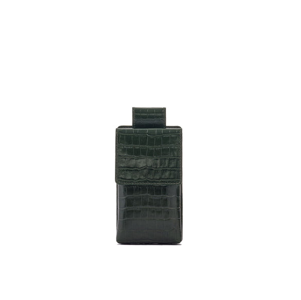 Phone case in forrest green croc embossed leather