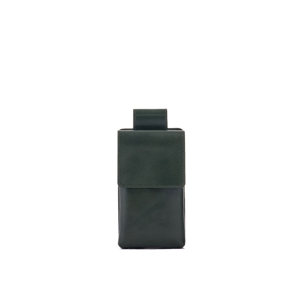 Phone case in forrest green full grain smooth leather