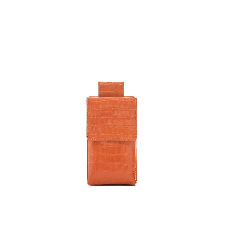 Phone case in orange croc embossed leather