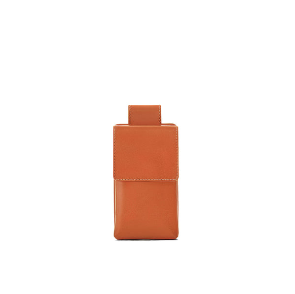 Phone case in orange full grain smooth leather
