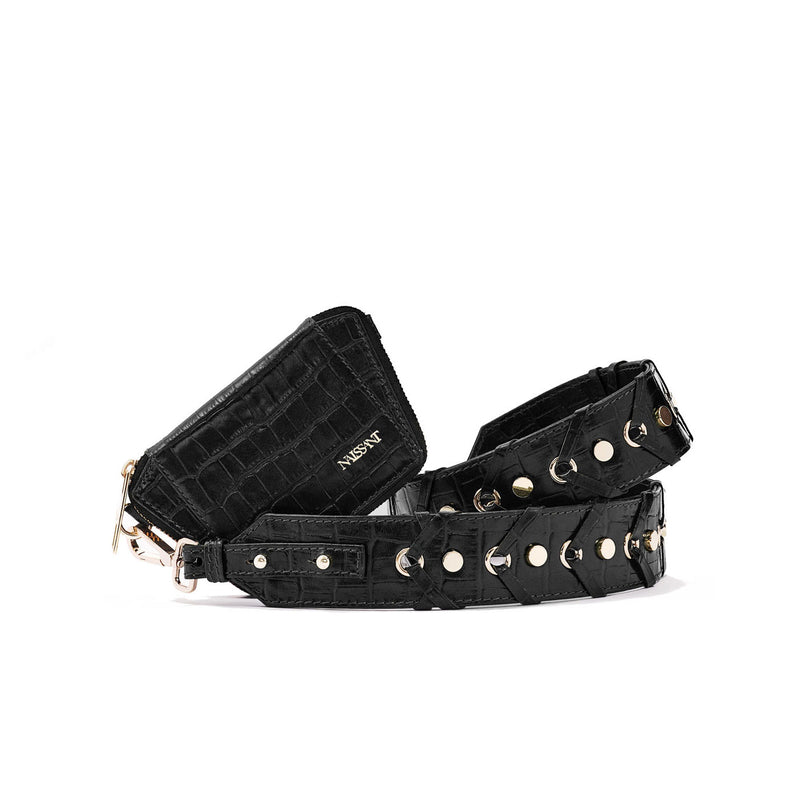 Zipped wallet with strap to use as a crossbody in black croc leather
