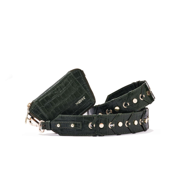 Zipped wallet with strap to use as a crossbody in forrest green croc leather