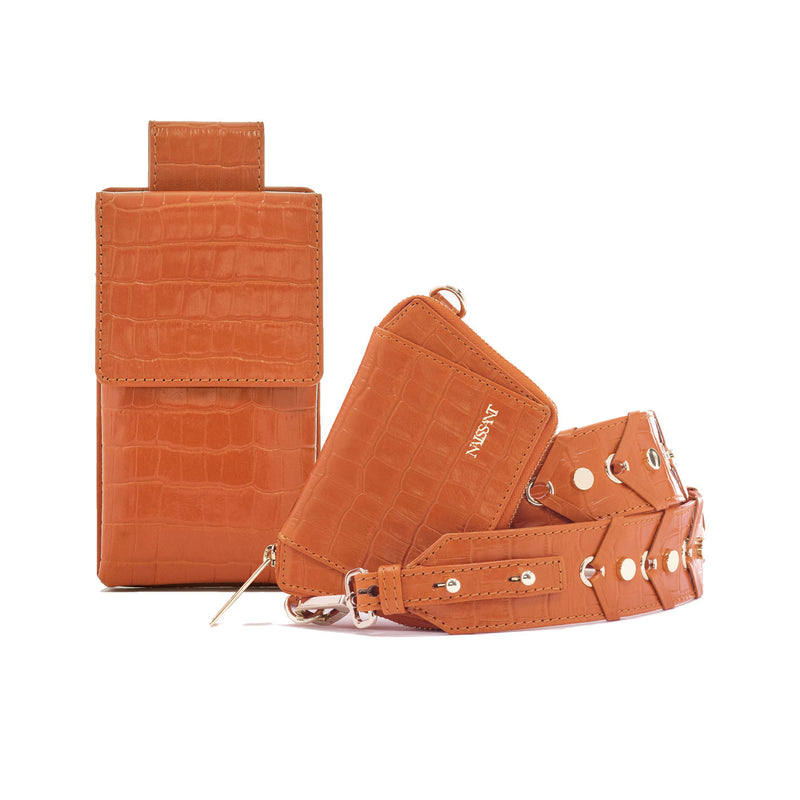 Wallet with strap to use as a crossbody with phone bag attached in croc leather