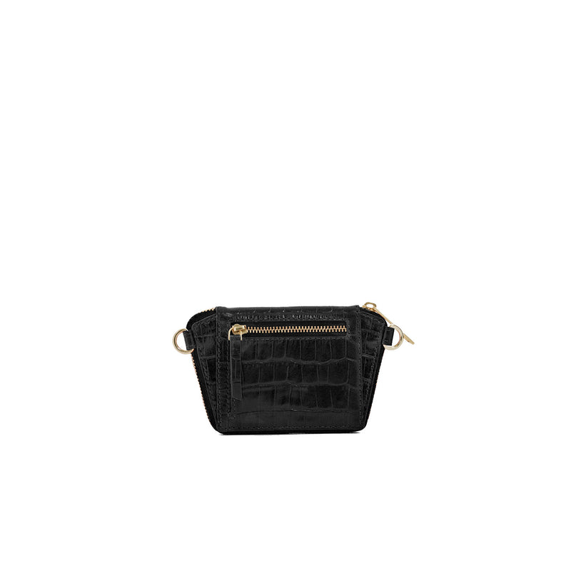 Paloma Box Bag + Celeste Wallet in Black Croc