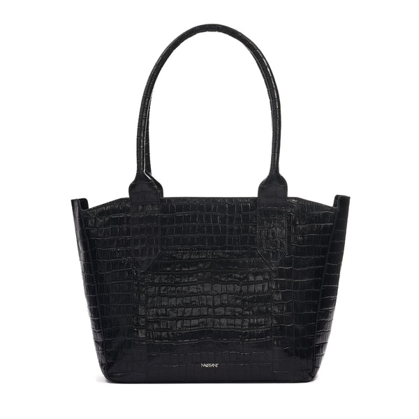 Tote bag in black croc leather