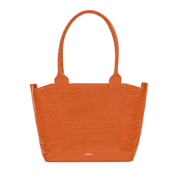 Tote bag in orange croc embossed leather