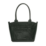 Tote bag in forrest green croc embossed leather