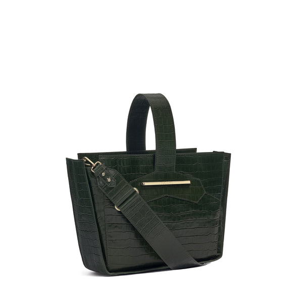 Crossbody handbag in forrest green croc embossed leather
