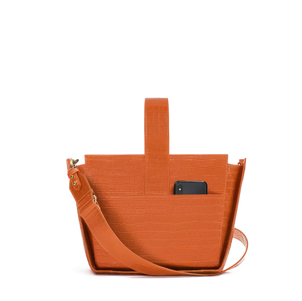 Crossbody handbag in orange croc embossed leather