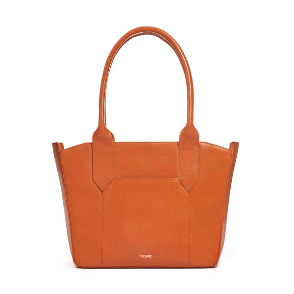 Tote bag in orange full grain smooth leather