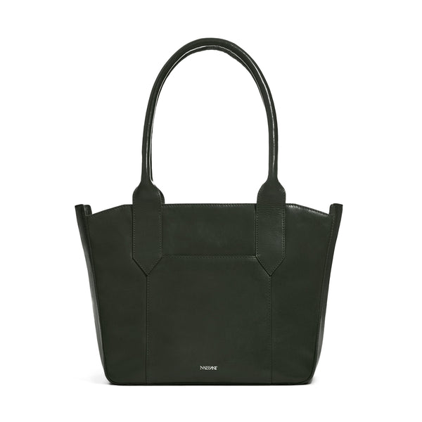 Tote bag in forrest green full grain smooth leather