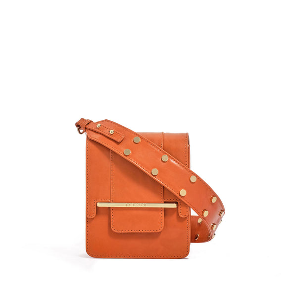Box bag in orange full grain smooth leather