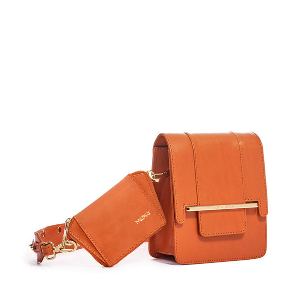 Box bag in orange full grain smooth leather and wallet