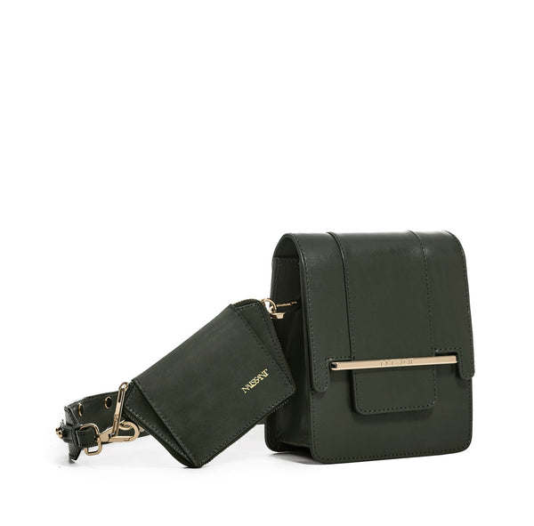 Paloma Box Bag + Celeste Wallet in Forrest Green