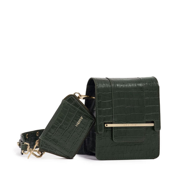 Box bag in forrest green croc embossed leather and wallet
