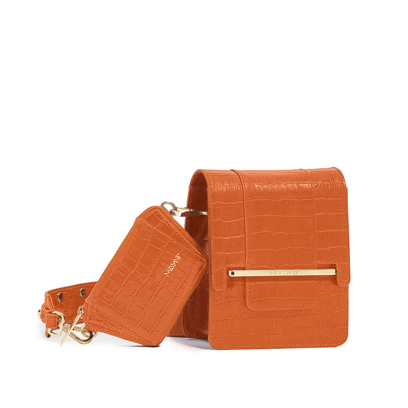 Box bag in orange croc embossed leather and wallet