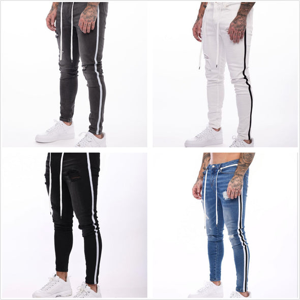 Men's Slim Hole Tether Jeans Trousers Fashion Solid Color