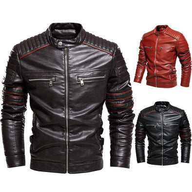 Men's Autumn PU Jacket Zipper Leather Jacket