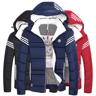 Men's Padded Parka Solid Colored Hooded Down Jacket