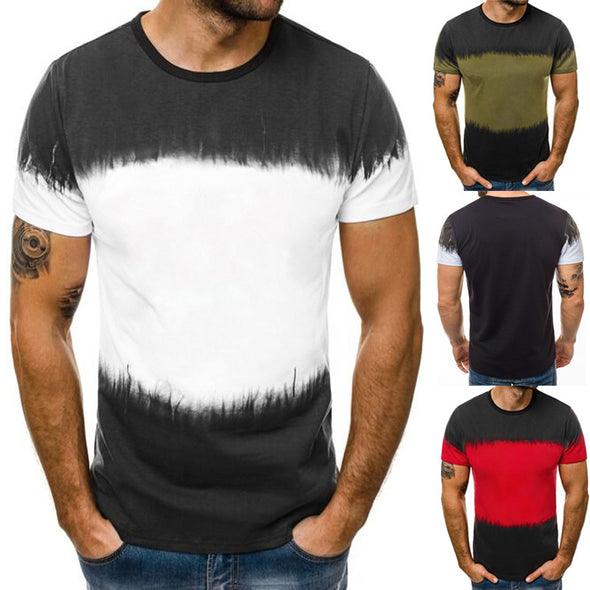Men's 3D Gradient Print Round Neck Short Sleeve T-shirt Fitness