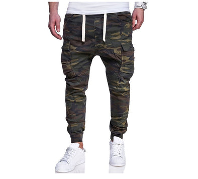 Men's Active Basic Military Army Green Slim Camouflage Print Pants
