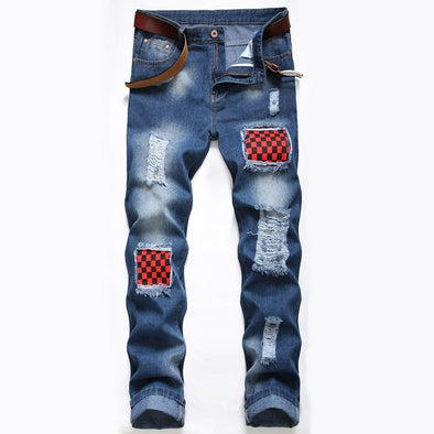 Distressed Checkerboard Patchwork Long Jeans