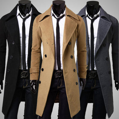 Men Jacket Warm Winter Trench Coat Long Outwear Button Overcoat