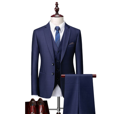 Dark Navy Solid Colored Tailored Fit Polyester Suit