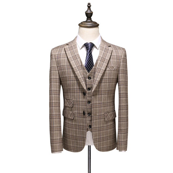 2020 New Men Plaid Pattern Business 3 Piece Suits