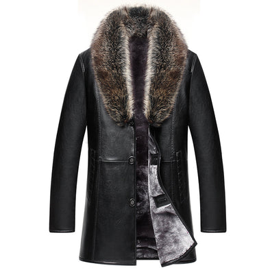 Men Real Animal Fur Collar Artificial Leather Warm Thickening Coat
