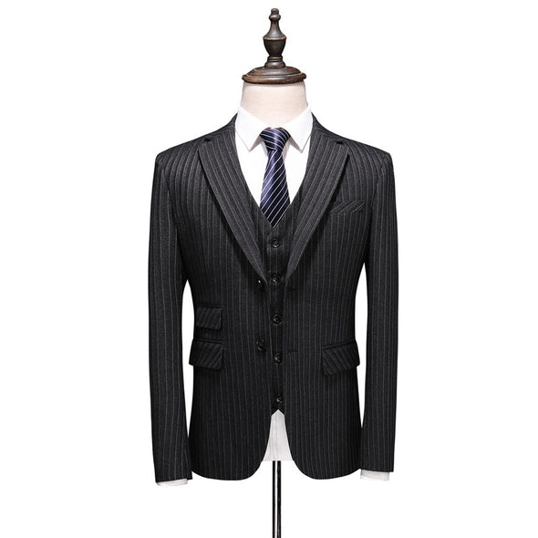 Men's Black Striped Standard Fit Bussiness Suit