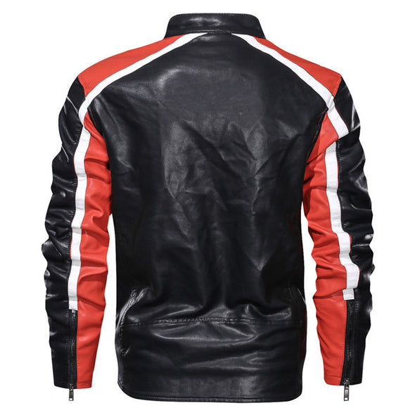 New Fashion Men's Stand Collar Faux Leather Jacket