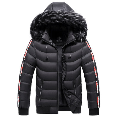Fashion Coat Men's Jacket Winter Hooded Coat Cotton Warm Windbreaker Cotton Coat