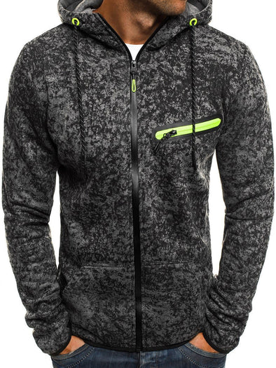 New Men Fashion Slim Print Zipper Casual Hoodies