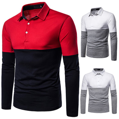 Men's Splice Shirt Fashion Collar Casual Polo Two-color