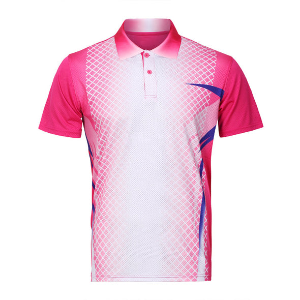 Men's Badminton Uniform 3D Quick-drying Short-sleeved Lapel Sports Polo Shirt