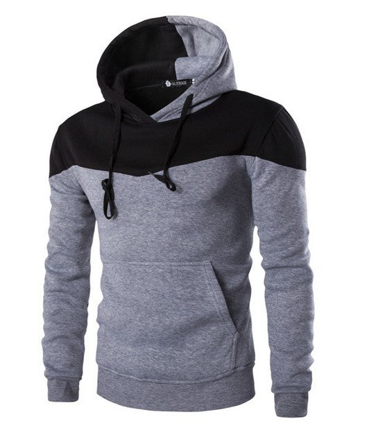 New Men Block Color Casual Pullover Hoodies