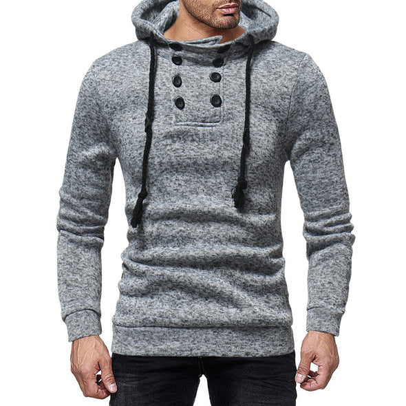 Men New Solid Double Breasted Decration Hoodies