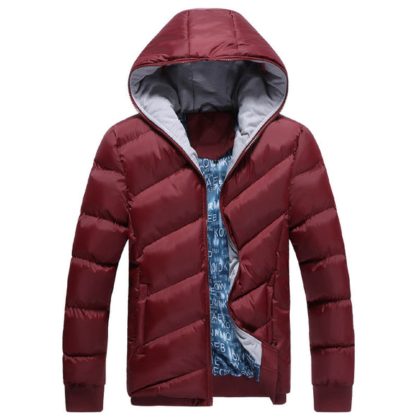 Explosive Style Men's Winter Slim Hooded Men's Solid Color Padded Coat