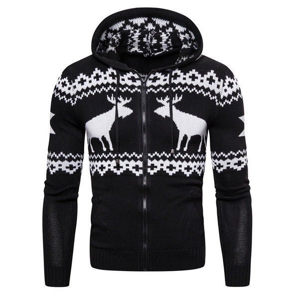 Men's Fashion Christmas Deer Print Long Sleeve Knit Hooded Jacket