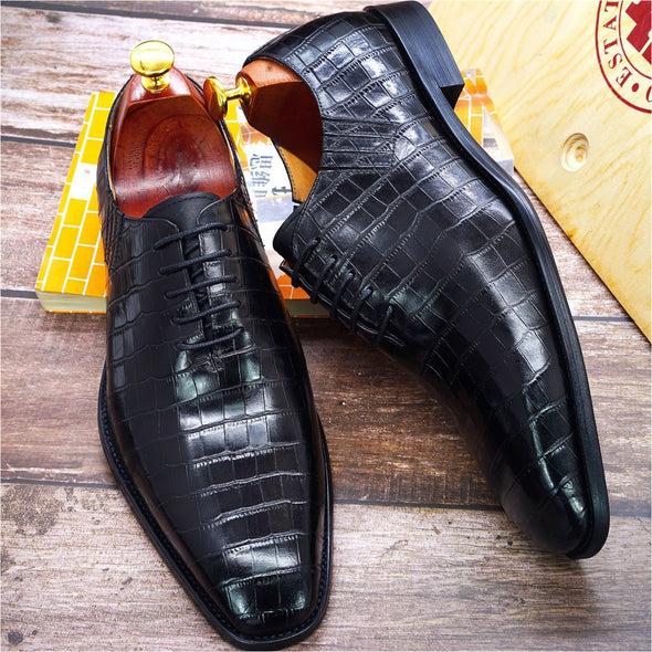2020 New Men Crocodile Pattern Business Formal Leather Shoes