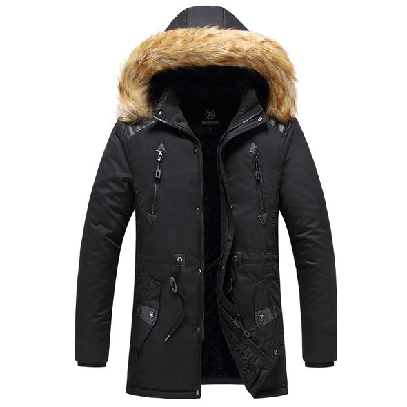 Men New Mid-long Hooded Windproof Thick Caot
