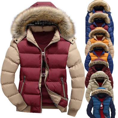 Men's Winter Slim Fashion Down Parka Color Block Jacket
