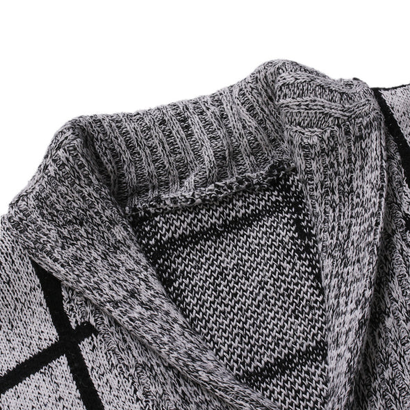 New Men Fashion Plaid V-neck Knitted Cardigan Sweater
