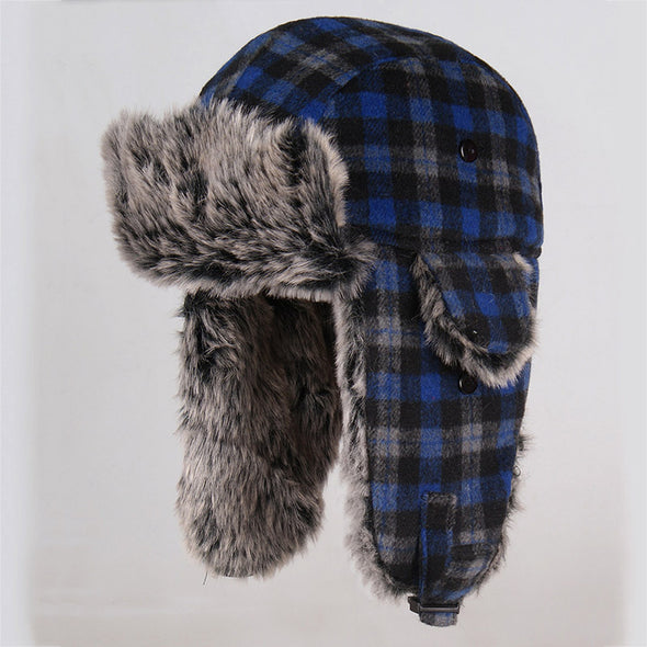 New Plaid Thick Warm Windproof Ear Cap