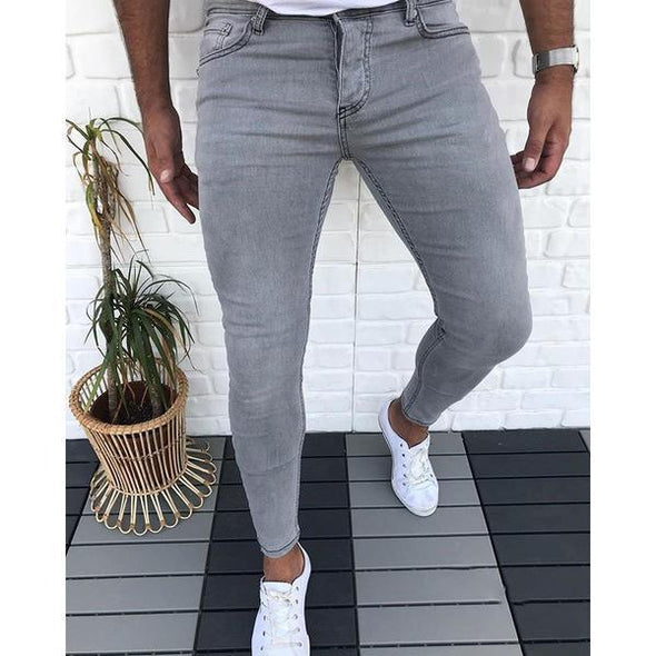 Men Casual Slim Fit Pure Color Jeans