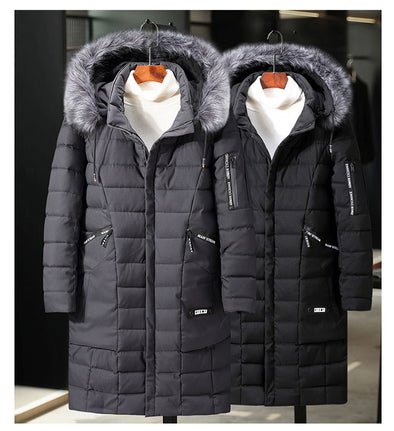 Men Plus Size Casual Long Warm Thick Down Coat
