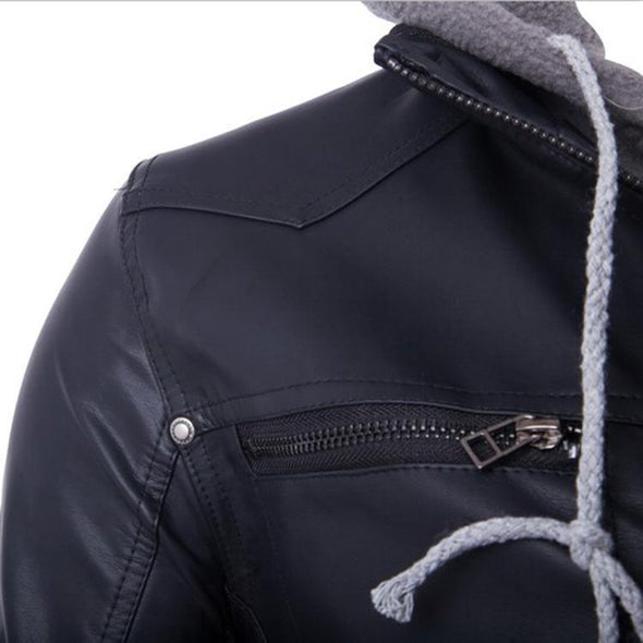 Double-Layer Hooded Zipper Men's Leather Jacket