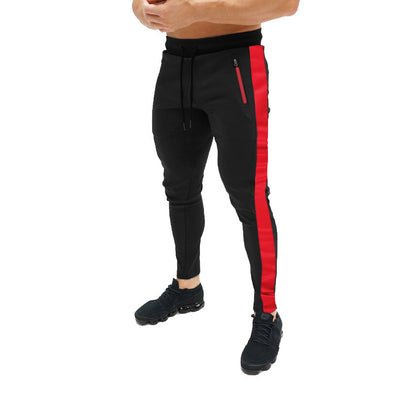 Men's Sports Slim Drawstring Multicolor Splice Pants